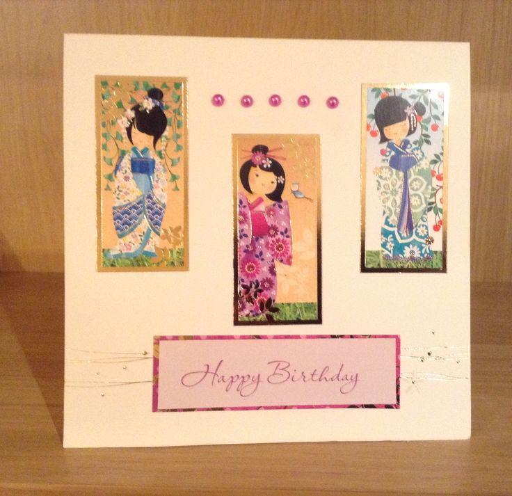 Handmade ladies or girls oriental card using cute kimono collection by Hunkydory