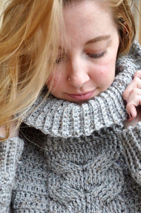 28cbbc3538b1bc Sans Limites Crochet  Cable Turtleneck Sweater! Finally! A New Pattern!!!