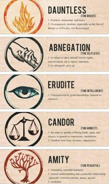 Factions from Divergent...What if we really were placed in each of these by our government????