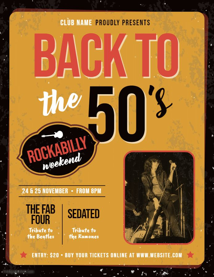 Custom 50's rock concert flyer template | Band and Concert