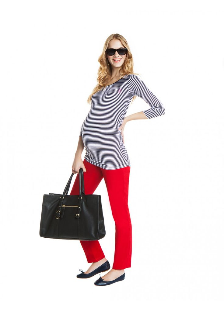 nanarise maternity |proud mom to be| jersey striped maternity top & red cotton maternity trousers | casual chic style |SHOP NOW!