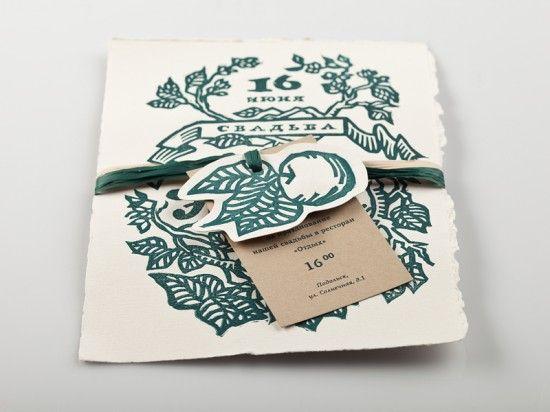 Natalya + Ilya's Nature-Inspired Linocut Wedding Invitations | Design and Photo Credits: Elena Bulay