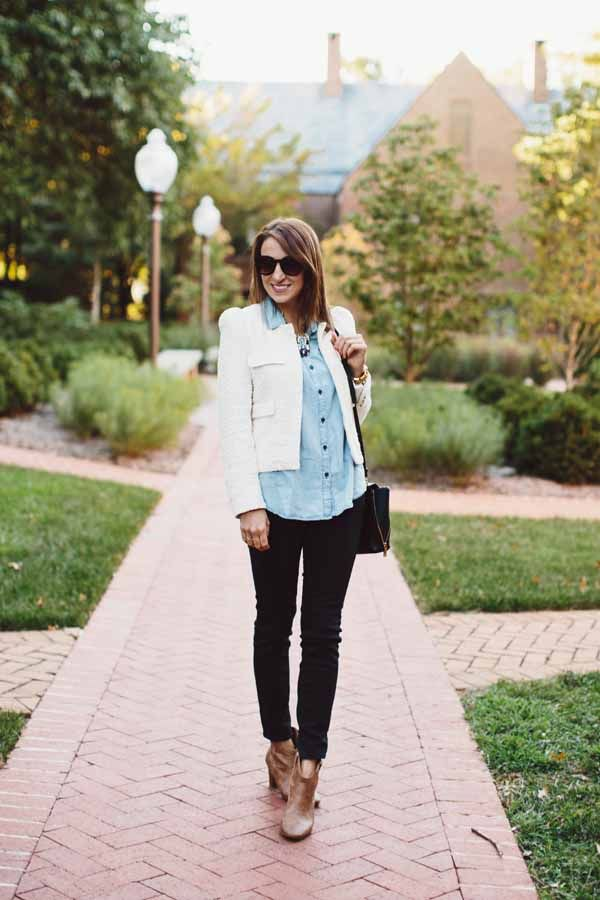 There is no better fall combo than a classic pair of skinny jeans and cool booties. Love how versatile skinny jeans and booties are — they look just as good paired with a plain t-shirt as they do with a dressy blazer or fun top.