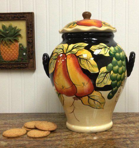 Tuscany-Winter-Fruit-Hand-Painted-Ceramic-Cookie-Jar-Italian-Tuscan-Style-Classy