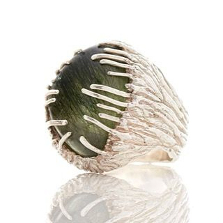 Green rutile Quartz ring big favourite! #green #rutilequartz #silver #ring #londonstyle #vicky_forrester #fluxstudioslondon #beauties by vicky_forrester