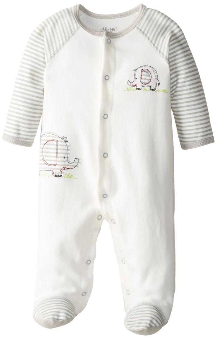 Amazon.com: Little Me Baby Boy Newborn Elephant Footie, Ivory Multi, 6 Months: Infant And Toddler Bodysuit Footies: Clothing   Amazon.com