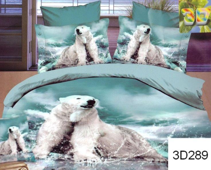Błękitna pościel do sypialni z misiem polarnym