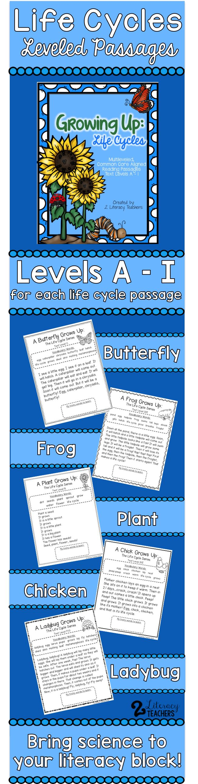 All about life cycles! Bring science to your literacy block with these leveled passages. Have your students learn about the life cycles of frogs, butterflies, plants, chickens and ladybugs. Each life cycle has 6 passages leveled A-I. Perfect for differentiation! Use whole group, guided reading, partner work, independent work or homework. Includes vocabulary games and completing the life cycle practice pages.