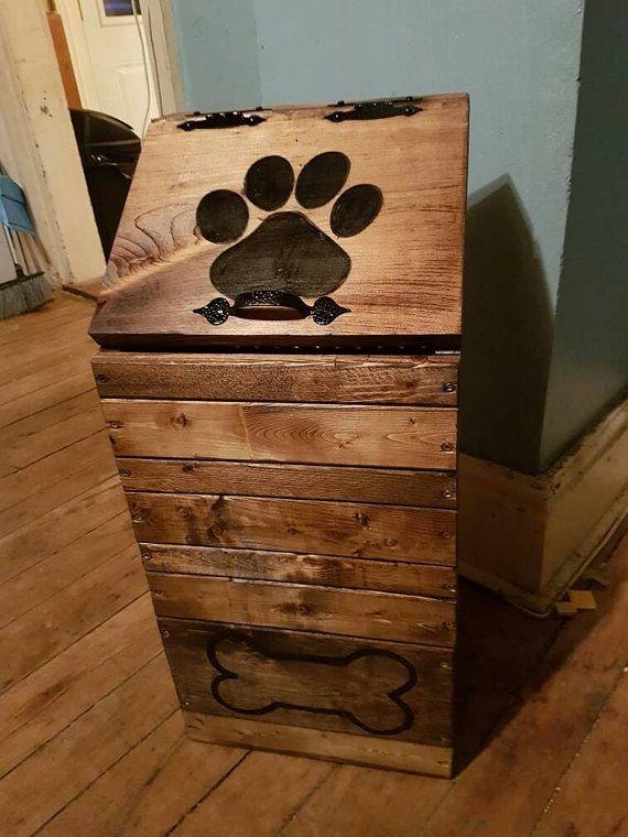 Wooden dog food storage container dog food bin pet food