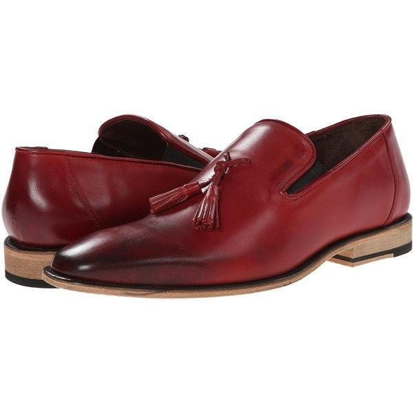 Messico Berriz (Red Leather) Men's Shoes ($65) ❤ liked on Polyvore featuring men's fashion, men's shoes, men's dress shoes, red, mens red dress shoes, mens square toe shoes, mens red shoes, mens tassel dress shoes and mens slipon shoes