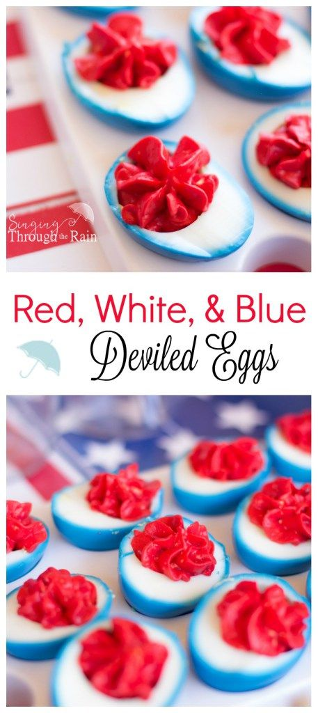 Fourth of July Deviled Eggs - Show your flair and creativity this Fourth of July with this recipe idea for red, white, and blue deviled eggs. Sure to a be a hit at any summer party or barbecue!
