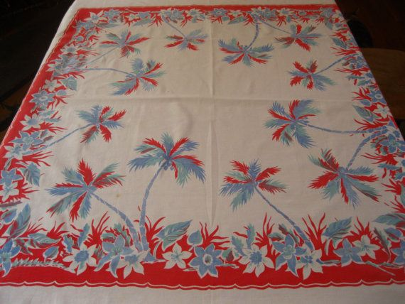 VFK FLASH SALE TODAY ONLY $56 - Vintage tropical tablecloth with palm trees and hibiscus blossoms by 3floridagirls, $70.00