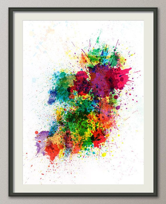 Ireland Map Paint Splashes Art Print 514 by artPause on Etsy, £11.99