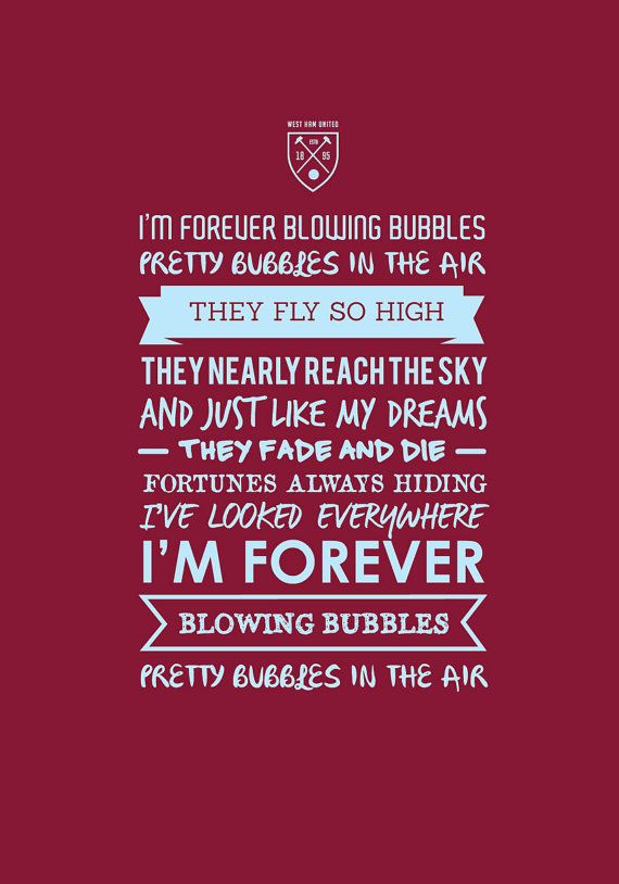 West Ham Forever Blowing Bubbles Print by KieranCarrollDesign