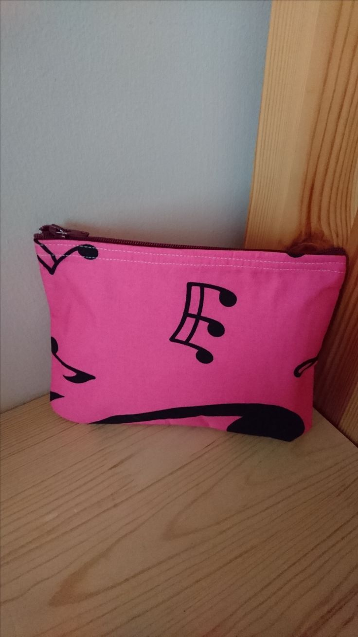Pink Music Note Handmade Fabric Purse