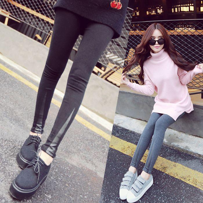 樱桃红中长款毛衣+拼皮打底裤+休闲鞋=欧美气质吸睛