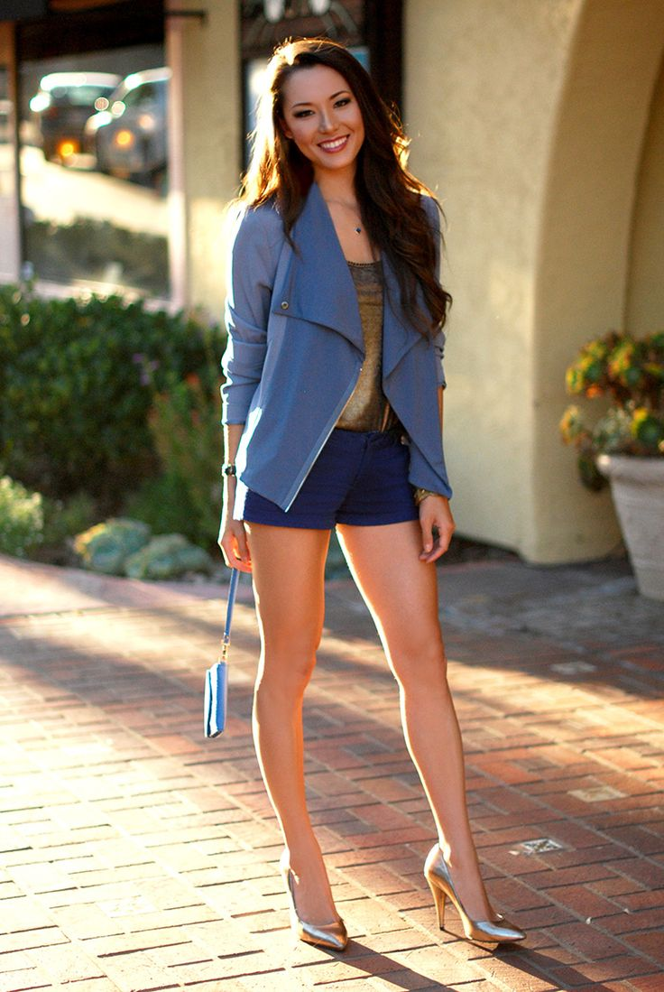 tank top with blazer and shorts