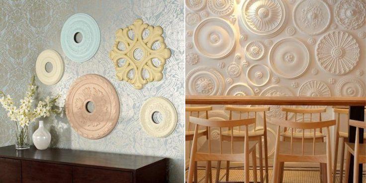 Декор стены потолочными розетками