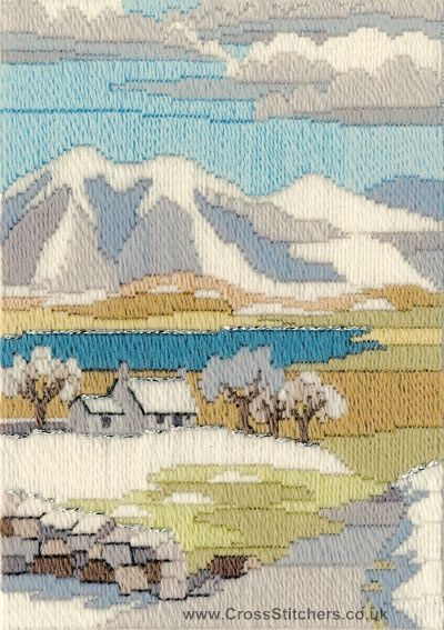 Mountain Winter Long Stitch Kit from Derwentwater Designs