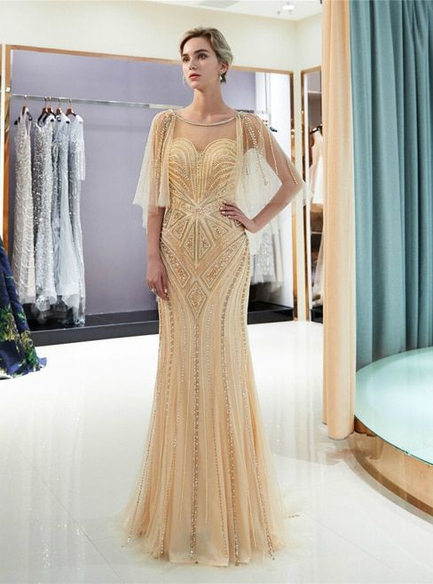 8deaa51ad1 Champagne Tulle Mermaid Sequins Cap Sleeve Backless Prom Dress ...