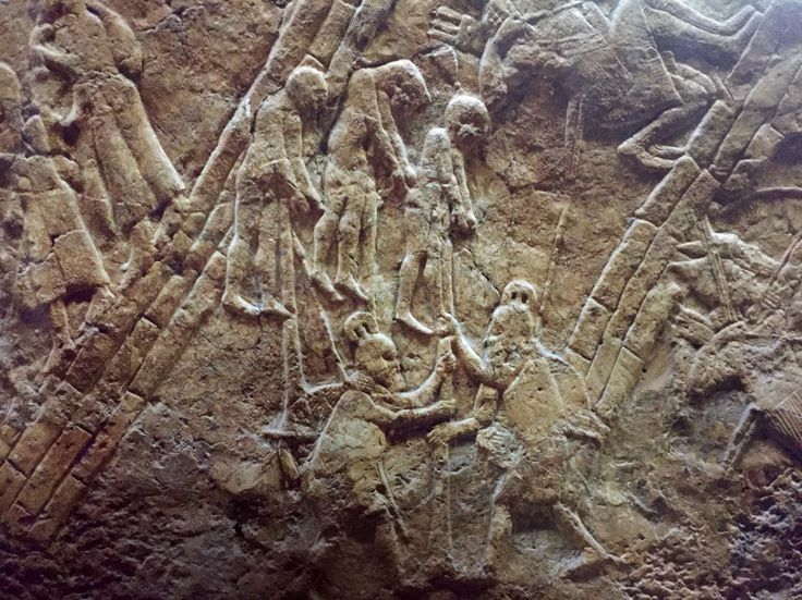 Hebrews captured by Assyrian soldiers in a relief from King Sennacherib's palace in Niniveh (Mosul Iraq today). This along with the Sennacherib's prism supports the Assyrian captivity of Israel in 2 Kings 15:19