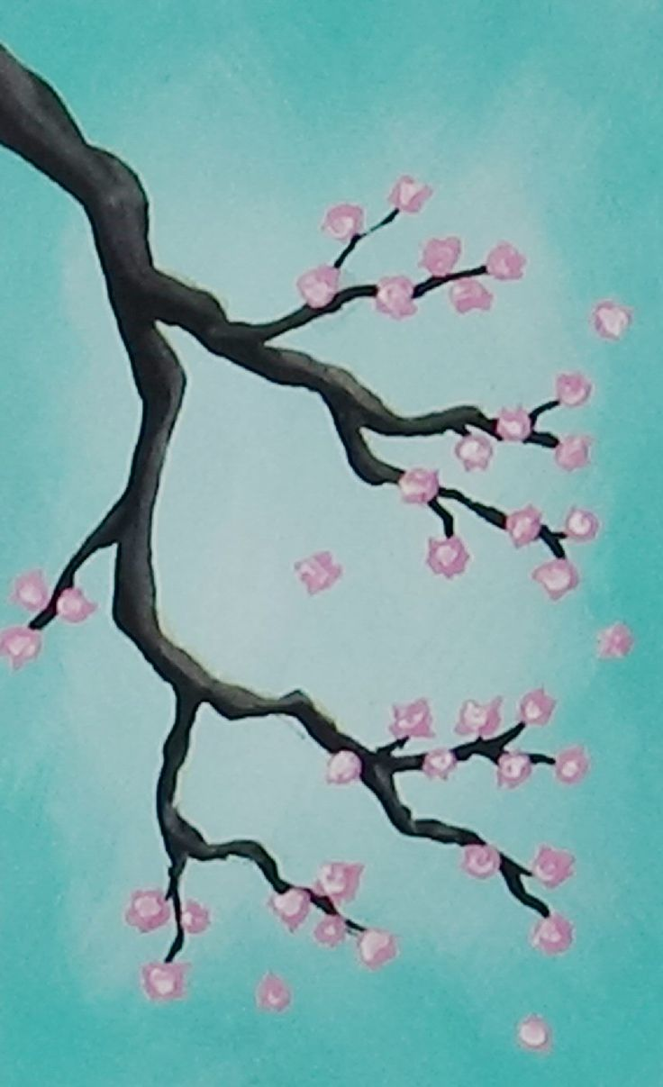 Acrylic painting cherry blossoms video available https for Simple cherry blossom painting