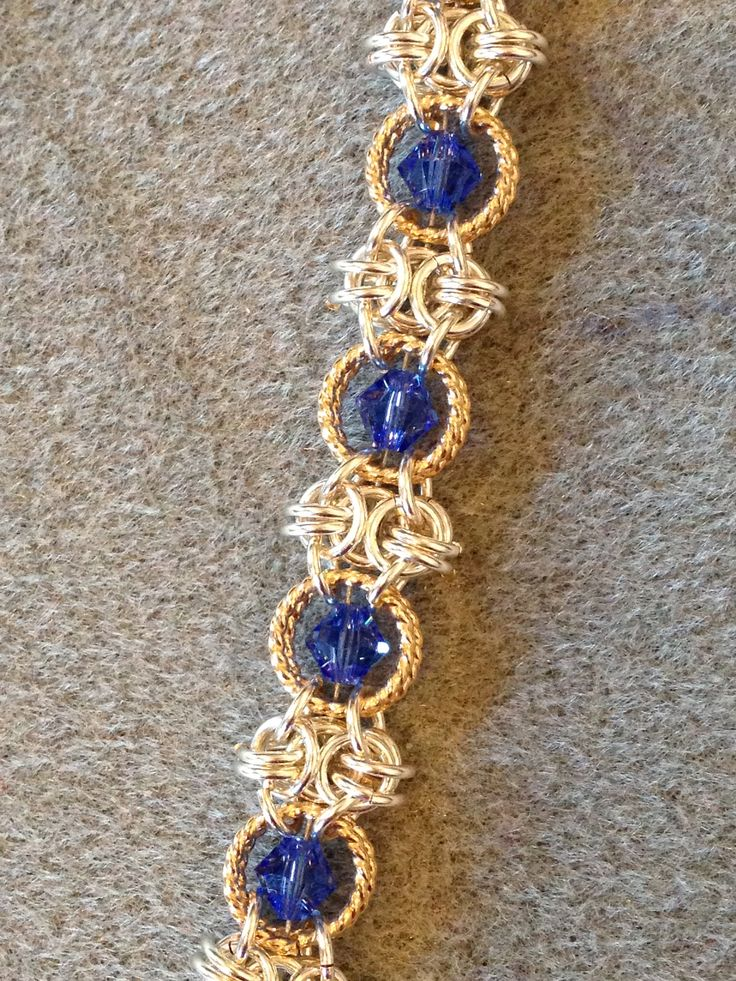 Sideways Byzantine with Sapphire crystals captured in GF Twisted wire, great bracelet finished with a lapis clasp in SS