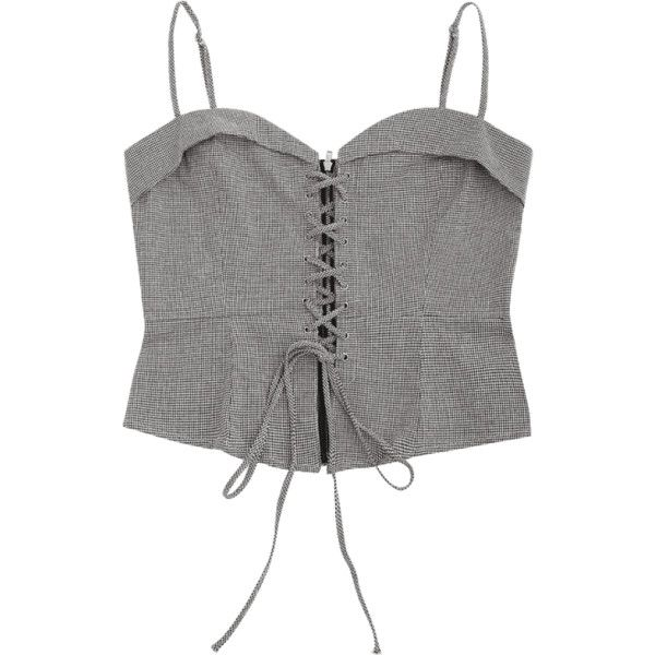 Lace Up Houndstooth Cami Top (€21) ❤ liked on Polyvore featuring tops, lace up front top, gray top, lace up tank, lace up tank top and grey tank top