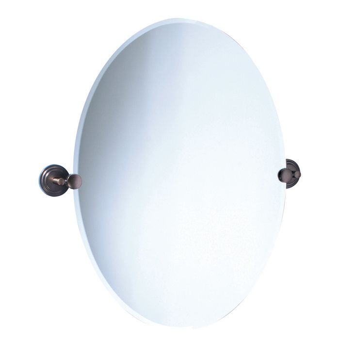 Gatco Marina 19.5-in W x 26.5-in H Oval Tilting Frameless Bathroom Mirror with Bronze Hardware and Beveled Edges