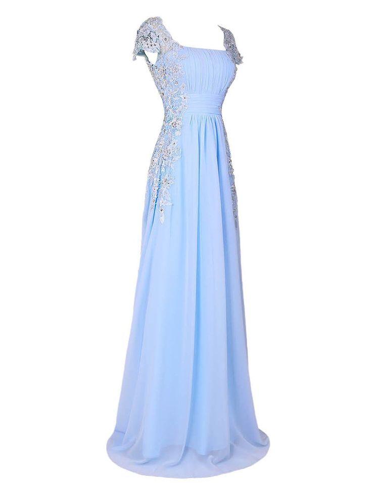 Dressystar Elegant Prom Dress Cap Sleeves Long Chiffon Formal Gown Lace Appliques