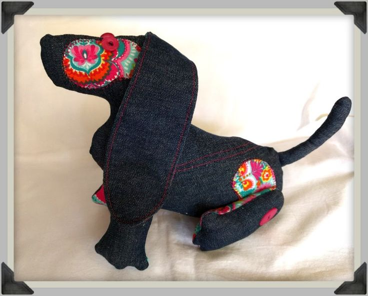Denim Patchwork Dog, dog softie, button jointed dog, denim and pink paisley dog, poseable dog softie by ByCatDesign on Etsy