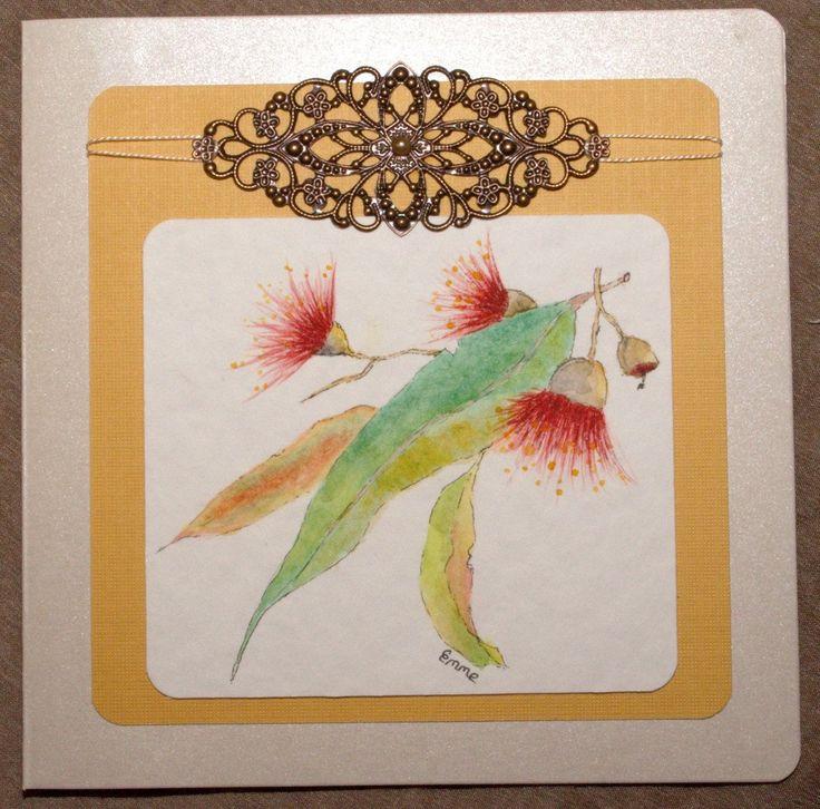 Original hand painted watercolour gum leaves & flowers. Greeting Card. Bronze ornate metal floral motif. Bible Scripture Psalm 29:11. OOAK.