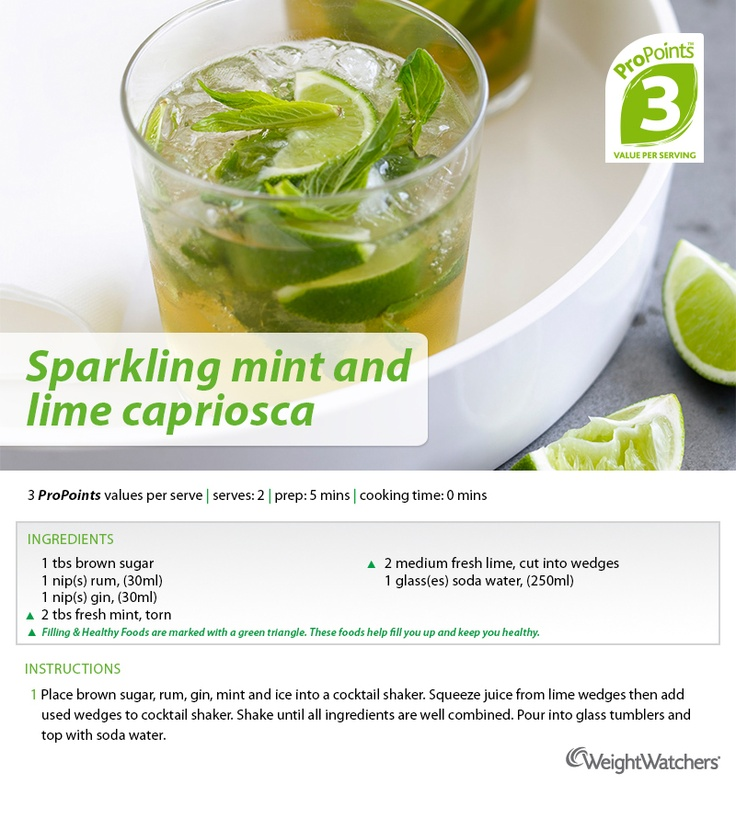 Sparkling mint and lime capriosca.