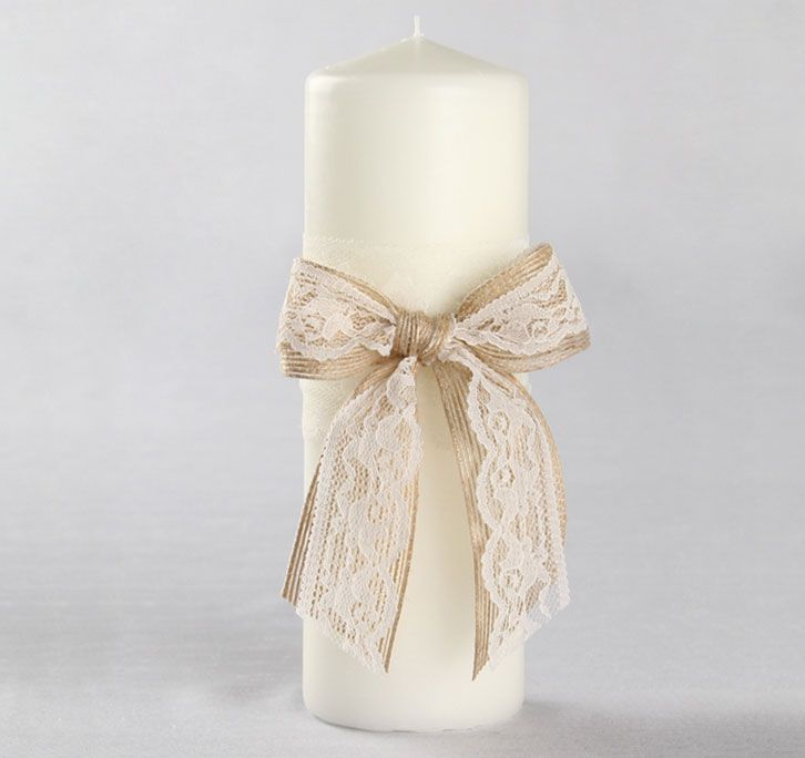 The Country Romance Pillar Candle is a must-have for the unity candy ceremony at a rustic theme wedding ceremony.