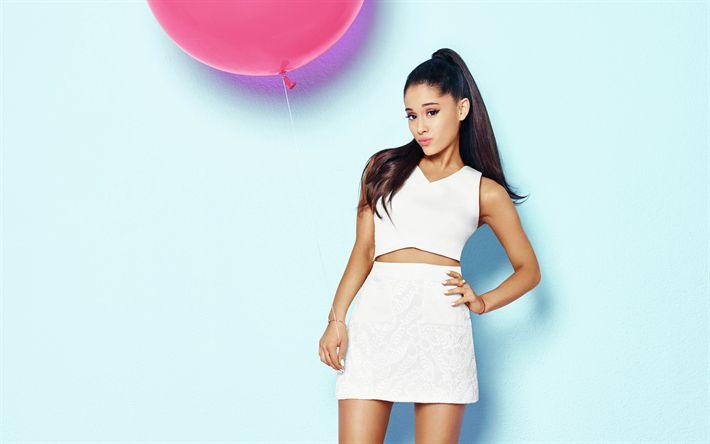 Download wallpapers Ariana Grande, 4k, American singer, photoshoot, Cosmopolitan, portrait, white dress, young American star