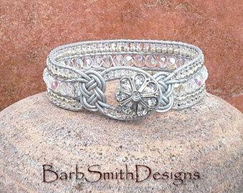 Black Silver Beaded Leather Wrap Cuff Bracelet by BarbSmithDesigns