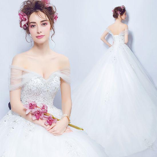 천사 웨딩 드레스 워드 어깨 관점 얇은 레이스 사용자 정의 다이아몬드 공주 신부가 웨딩 드레스 591 후행했다