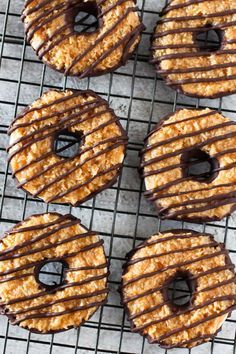 Gluten Free Vegan Samoa Cookies Recipe- sweet chewy dairy free caramel and toasted coconut!
