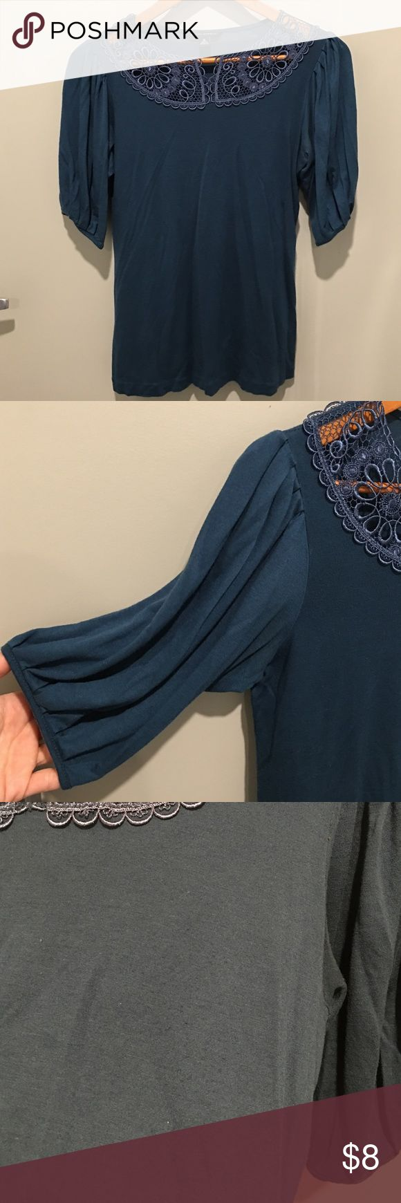 Real blue blouse with see through lace overlay Dark teal color. Soft material, flattering fit. Used condition - some pilling and arm pit deodorant stains which I just noticed while posting. If interested in buying Let me know and I will try to get these stains out before you decide to purchase. Banana Republic Tops Blouses
