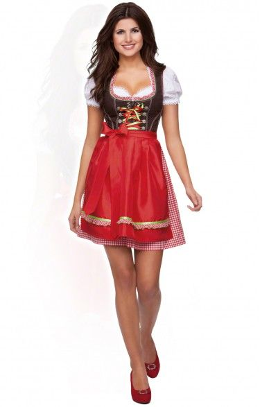 German mini dirndl 2pcs. Juno - red 50cm