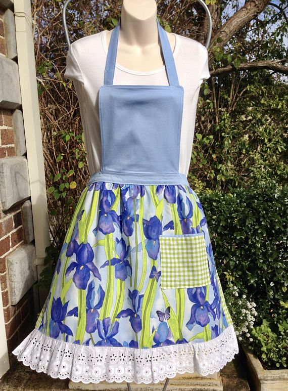 Women's Bib Apron Handmade Retro Full Apron Pocket