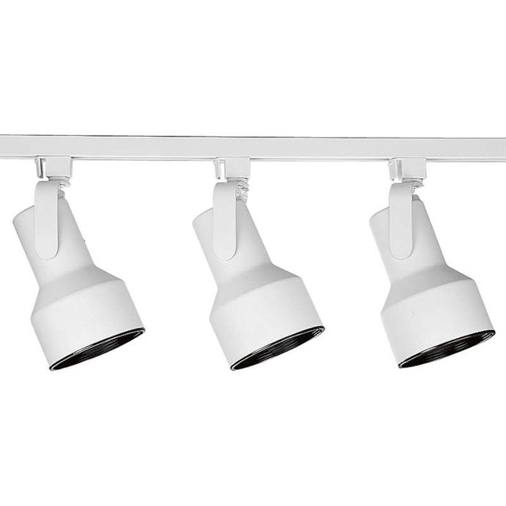 Progress Lighting P9215 Alpha Trak Kit with 3 Flair Track Heads - 4 Feet Long White Indoor Lighting Track Lighting Kits