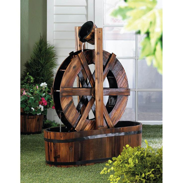 Watching the gentle cascade of water streaming from the barrel bucket at the top of this wooden water mill fountain is a great way to relax in your outdoor living space. The gentle flow of water spins