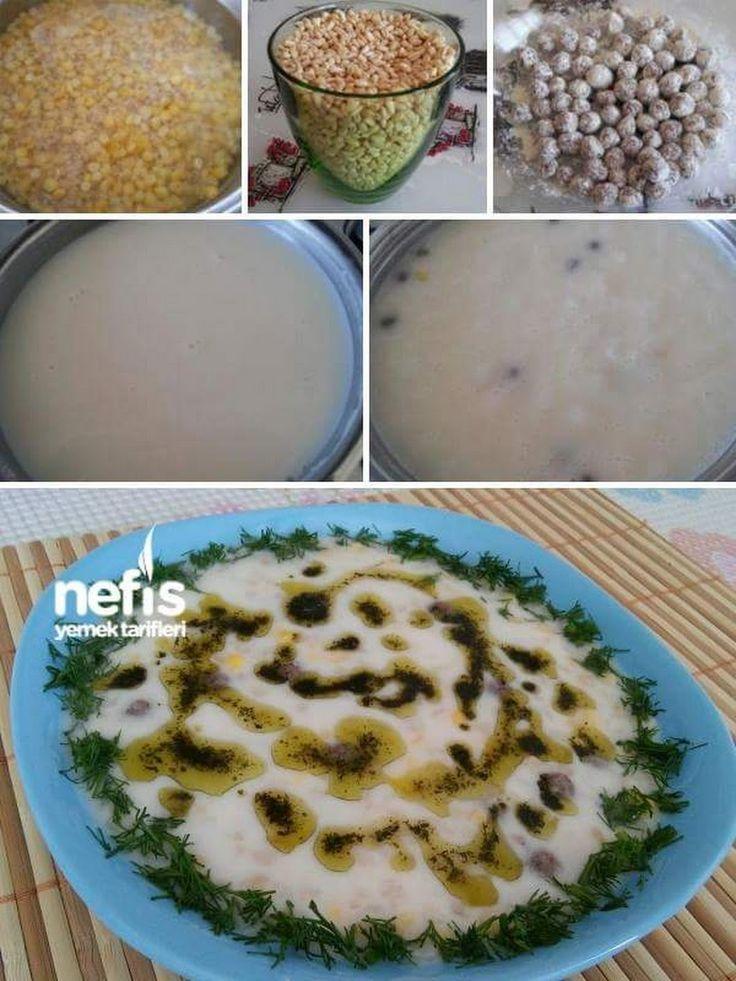 Köfteli Mısırlı Yoğurt Çorbası Malzemeler 1 su bardağı aşurelik buğday (Gendime) 1 su bardağı haşlanmış mısır Köftesi için ; 200 gram yağsız dana kıyma ... - yahsi mutfak - Google+