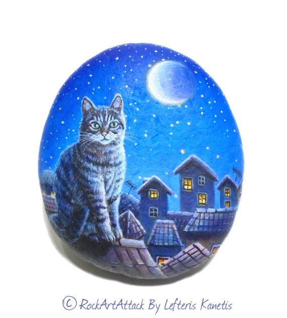 Hand Painted Stone - Cat Sitting On A Roof In The Night ! Designed & Painted by Lefteris Kanetis - RockArtAttack