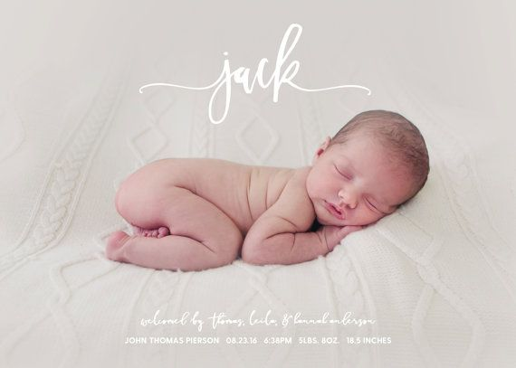 Jack is a simple and modern birth announcement, with beautiful script overlay. This birth announcement introduces your new arrival to the world in a stylish way, and makes a lovely, treasured keepsake for baby book.  I can do light photo editing (change to black and white, airbrush quality, blemish touch-up, brighten) if you desire, for no extra cost. This particular announcement works best with a landscape (horizontal) layout photo.  Announcement measures 5x7 inches, and fits A7 envelopes…