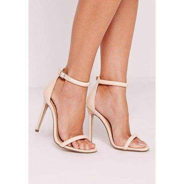 Missguided Patent Rounded Strap Barely There Heels ($36) ❤ liked on Polyvore featuring shoes, pumps, nude, high heel pumps, strap shoes, strappy shoes, nude patent pumps and strappy high heel shoes