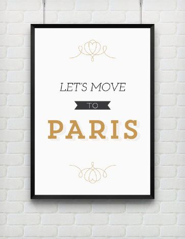 Typography Print Quote Print Paris Poster Black Gold by paperchat