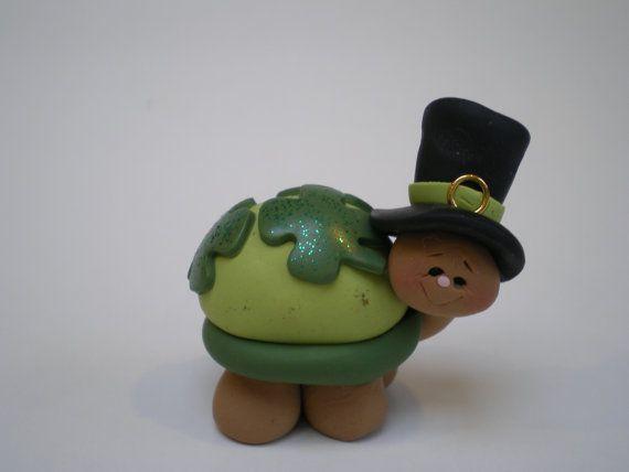 St. Patricks Day Polymer Clay Turtle by Helen's by HelensClayArt
