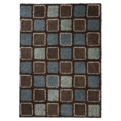 Living Room Mohawk Home Squares Shag Area Rug Blue